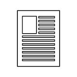 Paper document icon. Simple black line of sheet of paper with lines on it  illustration Royalty Free Stock Photos