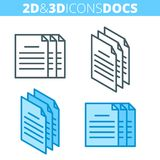 The document pile. Flat and isometric 3d outline icon set. The paper document pile. Flat and isometric 3d outline icon set. The docs, office supply line Royalty Free Stock Photos