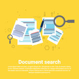 Paper Document Search Magnifying Glass Paperwork Business Web Banner. Flat Vector Illustration Royalty Free Stock Images