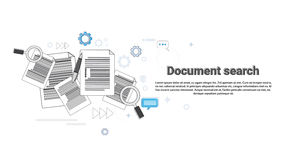 Paper Document Search Magnifying Glass Paperwork Business Web Banner Royalty Free Stock Photos