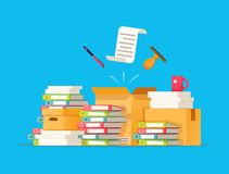 Carton boxes. Bureaucracy, paperwork, office. Vector illustration in flat style. Paper documents and file folders office worker. Working with the archive Stock Photography
