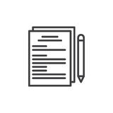 Paper documents and pen line icon Royalty Free Stock Photography