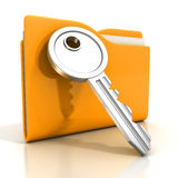 Paper documents ywllow folder with key Royalty Free Stock Images