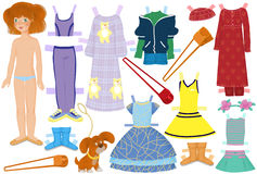 Paper doll. Named Katie and summer clothes for her Stock Image