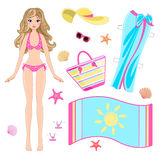 Paper doll in beach clothes Stock Images