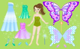 Paper doll of beautiful fairy. Body templates. Dress up vector illustration