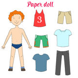 Paper doll boy and clothes vector illustration Royalty Free Stock Image