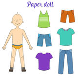 Paper doll boy and clothes vector illustration Royalty Free Stock Photo