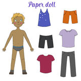 Paper doll boy and clothes vector illustration Royalty Free Stock Images