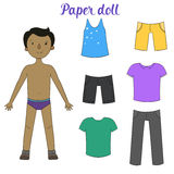 Paper doll boy and clothes vector illustration Royalty Free Stock Photography