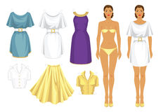 Paper doll with clothes. Body template. Set of template paper clothes. Clothes for holiday. Elegant white dress with white belt and gold buckle. Violet dress Stock Photography
