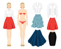 Paper doll with clothes. Body template. Set of template paper clothes. Clothes for office, clothes for holiday. Different model of skirt. Base wardrobe. Girl Royalty Free Stock Images