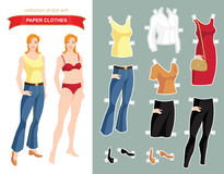Paper doll with clothes for office and holiday. Royalty Free Stock Images