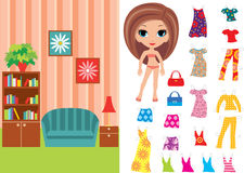 Paper doll with clothes and a paper room. Vector, color full, no gradient Royalty Free Stock Photography