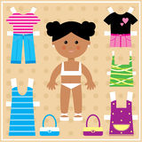 Paper doll with clothes set Royalty Free Stock Images