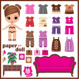 Paper doll with clothes set stock illustration