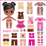 Paper doll with clothes set vector illustration