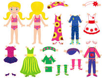 Paper doll and clothes set for her Royalty Free Stock Photos