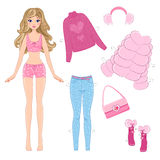 Paper doll with clothes Stock Images