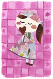 Paper doll-collage artwork stock illustration