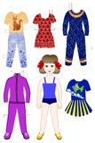 Paper doll with curly hair for a game Royalty Free Stock Photo