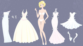 Paper doll of cute girl with wedding dresses Royalty Free Stock Photo