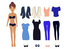 Paper Doll with different dresses vector illustration