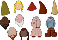 Paper Doll Gnome Set. Fill in your own face with this set of diverse male and female gnomes or elves Stock Photos