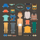 Paper doll man template Stock Photography
