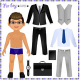 Paper doll with a set of clothes. Business style. Cute trendy boy. Template for cutting Stock Photos