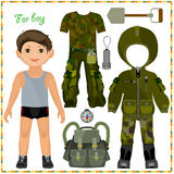 Paper doll with a set of clothes. stock illustration