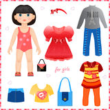 Paper doll with a set of clothes. Cute fashion gir stock illustration