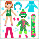 Paper doll with a set of clothes. Cute fashion girl. Royalty Free Stock Photography
