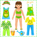 Paper doll with a set of clothes. Cute girl. Royalty Free Stock Images