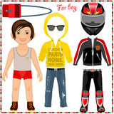 Paper doll with a set of clothes. Cute trendy boy. Royalty Free Stock Images