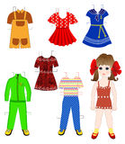 Paper doll with a set of  clothes Royalty Free Stock Photo