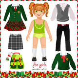 Paper doll with a set of clothes for school Royalty Free Stock Photo