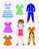 Paper doll with a set of  clothes Royalty Free Stock Photos