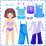 Paper doll with a set of clothes to stay Stock Photography