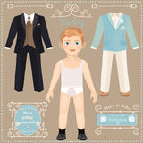 Paper doll with a set of clothes. Wedding dresses for the bride. Cute trendy boy. Template for cutting Stock Images