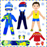 Paper doll with a set of clothes. Winter sportswear. Cute trendy Stock Photography