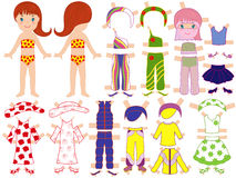 Paper doll and a set of clothing for the summer se Royalty Free Stock Photo