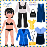 Paper doll with a set of elegant clothes. Business style. Royalty Free Stock Photography