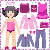Paper doll with a set of elegant clothes stock illustration