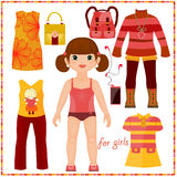 Paper doll with a set of fashion clothes. Cute gir. L. Template for cutting Stock Image
