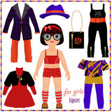 Paper doll with a set of fashion clothes. Cute hipster girl. Stock Photography
