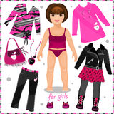 Paper doll with a set of fashion clothes. Royalty Free Stock Photography