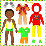Paper doll with a set of fashionable clothing. Royalty Free Stock Image