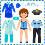 Paper doll with a set of professional clothings. vector illustration