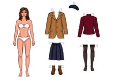 Paper doll and a set of warm clothes for her. The girl in the underwear is standing in front. Paper doll and a set of warm clothes for her Royalty Free Stock Image